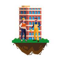 couple de constructeurs constructeurs ouvriers avec bâtiment vecteur