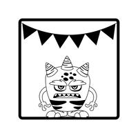 cadre carré avec guirlandes de fête monstre et cornes vecteur