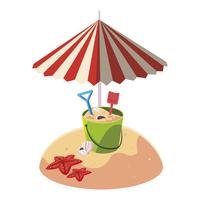 plage de sable en été avec parasol et seau de sable