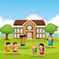 retour à l'école dessins animés pour enfants vecteur