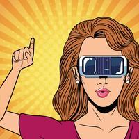 Femme avec une technologie de lunettes de réalité virtuelle vecteur