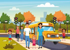 rentrer à l'école avec bonheur vecteur