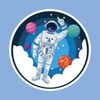Astronaute dans l'icône ronde de la bande dessinée galaxie