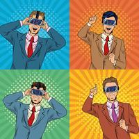 Dessin animé pop art de la réalité virtuelle des hommes d'affaires vecteur