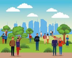 Les gens dans le parc de la ville