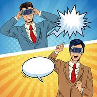Dessin animé pop art de la réalité virtuelle des hommes d'affaires