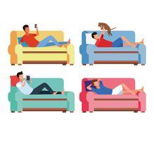 activités et temps libre à la maison vecteur