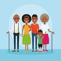 Caricature famille avec enfants vecteur