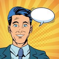 Caricature de pop art parlant d'homme d'affaires