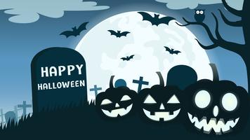 Fond d'Halloween avec le diable citrouille sourire dans le cimetière et la pleine lune - illustration vectorielle