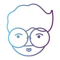 tête d'homme avatar de ligne avec la conception de coiffure
