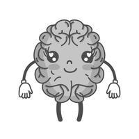 niveaux de gris kawaii mignon cerveau heureux avec les bras et les jambes