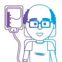 homme de ligne avec transfusion de donneur de sang vecteur