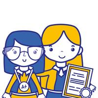 enseignant avec étudiant à la leçon d'éducation de classe vecteur