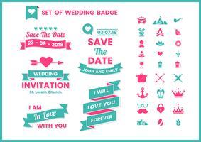 Vecteur de mariage rétro pour bannière
