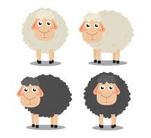 Vecteur de dessin animé mignon mouton noir et blanc ensemble isolé sur fond blanc