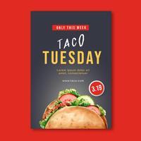 Conception d'affiche restaurant Fast-Food pour restaurant décor look appétissant des aliments, modèle de conception, création illustration vector aquarelle