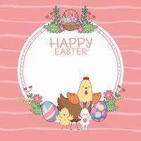 Joyeuses Pâques cadre rond avec des dessins animés