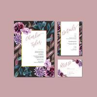 Mariage mariage carte mariage floral carte heureuse carte, détail de rsvp. espace mise en page vintage ornement belle, aquarelle vector illustration modèle conception de la collection