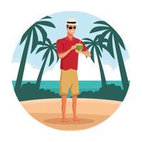 Jeune homme à la plage