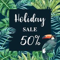 Promotion de vacances d'été sur les réseaux sociaux. temps de vacances, conception créative illustration vectorielle aquarelle