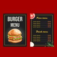 Conception de menus de restauration rapide. Apéritif, liste, fond, menu, liste, nourriture, modèle, créatif, aquarelle, conception, illustration, conception
