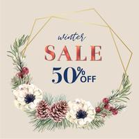 Cadre de couronne floraison florale hiver élégant pour la décoration vintage belle, créatif design illustration vectorielle aquarelle vecteur