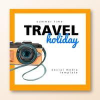Médias sociaux Voyage en été de vacances la plage Palmier vacances, mer et ciel, conception créative illustration vectorielle aquarelle