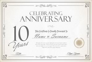 Fond d'anniversaire vintage rétro 10 ans vecteur