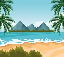 dessin de paysage de bord de mer vecteur