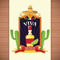 Dessins de carte Viva Mexico vecteur