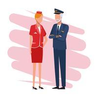 Pilote et hôtesse du travail et des travailleurs vecteur