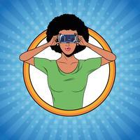 Femme utilisant des lunettes de réalité virtuelle vecteur