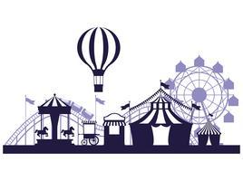 Couleurs bleu et blanc de la foire du festival du cirque vecteur