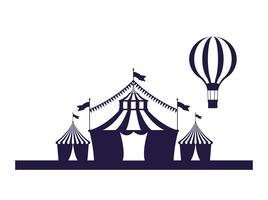 Couleurs bleu et blanc de la foire du festival du cirque