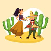 Mexicains célébrant dans le désert vecteur