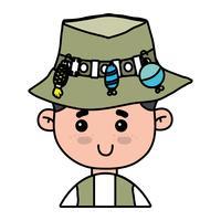 pêcheur avec chapeau design et sport rigolo vecteur