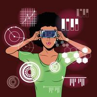 Femme utilisant des lunettes de réalité virtuelle