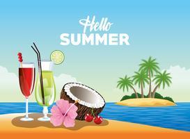Bonjour affiche de carte d'été avec des dessins animés