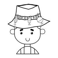 pêcheur à la ligne avec un chapeau et un sport amusant vecteur