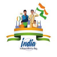 Carte de fête de l'indépendance de l'Inde vecteur