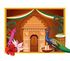 Carte de tourisme monument national de l'Inde vecteur