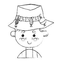 figure pêcheur avec chapeau design et sport rigolo vecteur