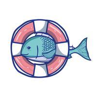 poisson avec la conception d'objet de bouée de sauvetage vecteur
