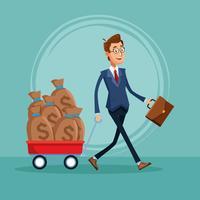 Caricature de banquier homme d'affaires vecteur