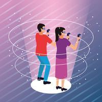 Couple jouant avec la réalité virtuelle vecteur