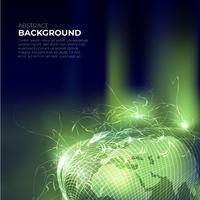 Mesh autour de la sphère du monde vert avec ray sur illustration vectorielle fond foncé