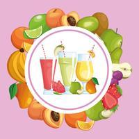 smoothies avec un cadre rond de fruits