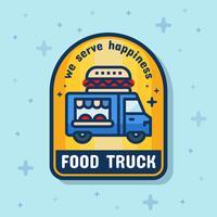 Bannière insigne de service camion de nourriture. Illustration vectorielle