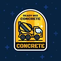 Bannière d'insigne de camion de chargeur de béton prêt à l'emploi. Illustration vectorielle